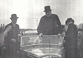 winston churchill people car crowd black and white