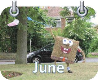 house car tree spongebob costume grass June