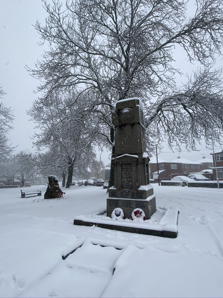 Gildersome cenotaph covered in snow