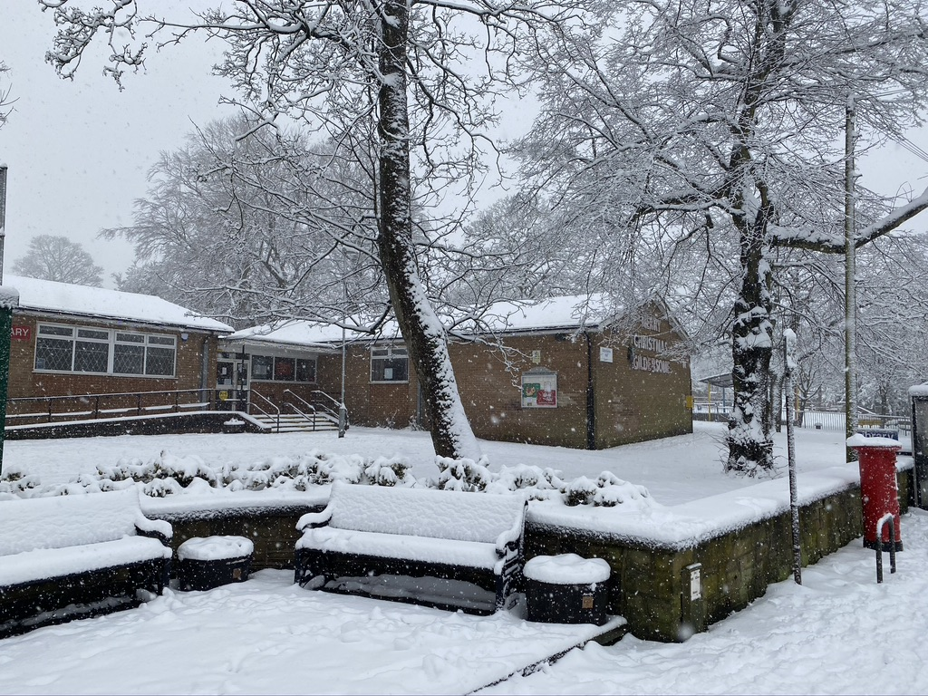 Gildersome meeting hall covered in snow