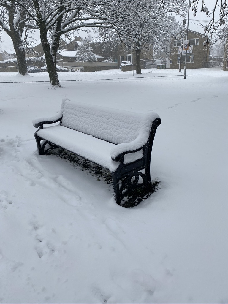 Bench on the Green covered in snow
