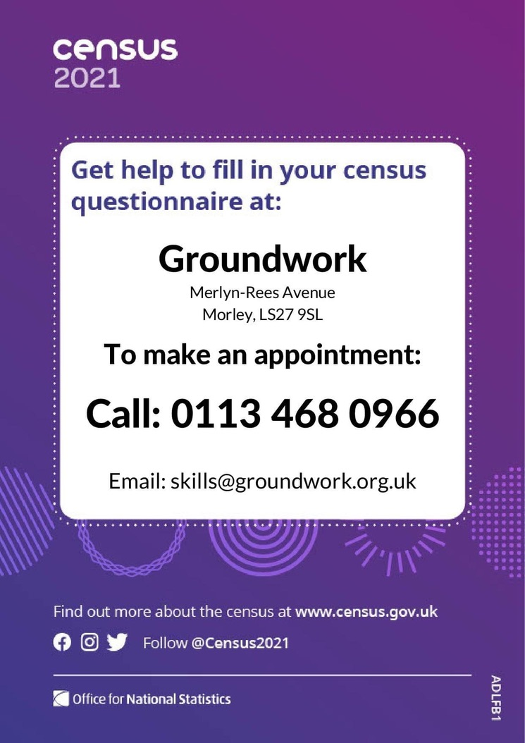 Census 2021 advert for support phone 0113 4680966