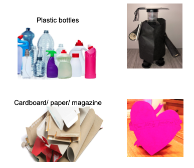 Plastic bottles cardboard paper magazine recycled into a 3D piece of art work
