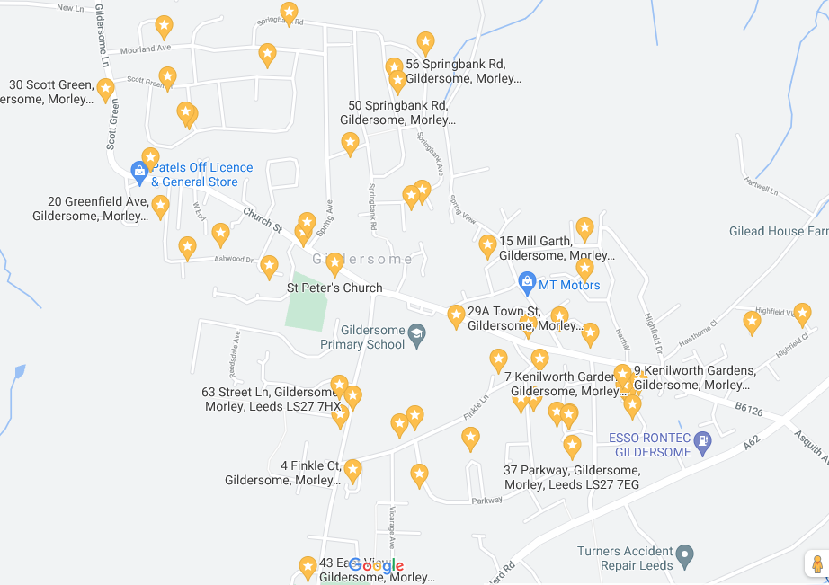 Map of Gildersome with pins showing locations of table tops sale locations