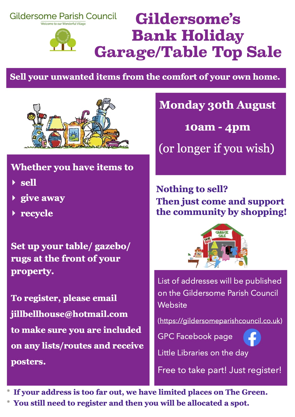 Advert for Gildersome Bank Holiday Table Top/ Garage Sale Monday 30th August 10am- 4pm