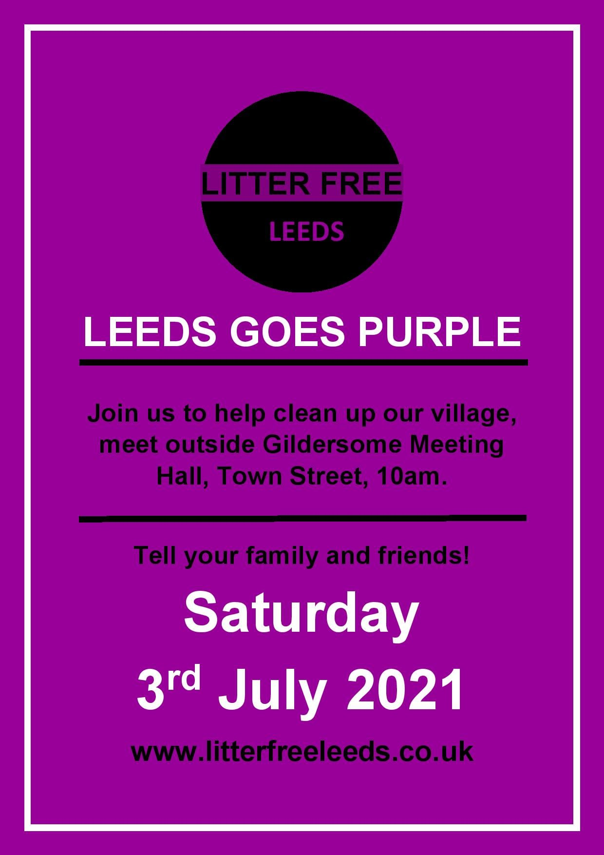 Litter Free Leeds poster Saturday 3rd July