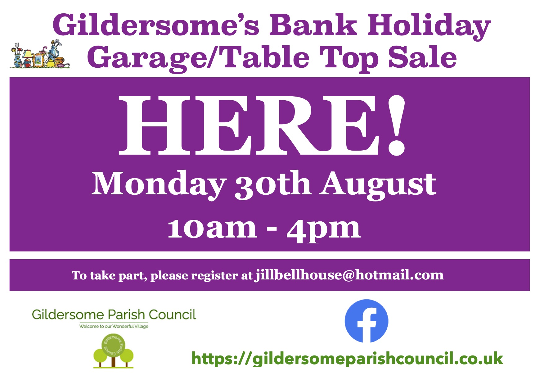 Gildersome Garage Sale Here on Monday 30th August 10am- 4pm poster for houses participating