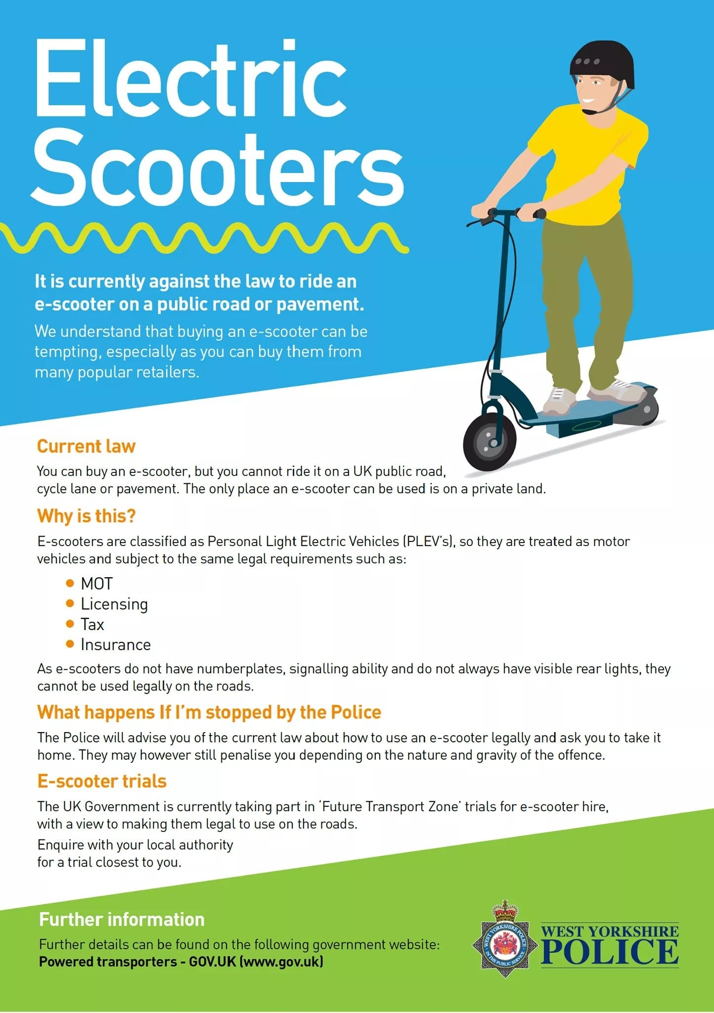 Electric Scooters poster from West Yorkshire Police Illegal to ride on UK public roads cycle lane or pavement
