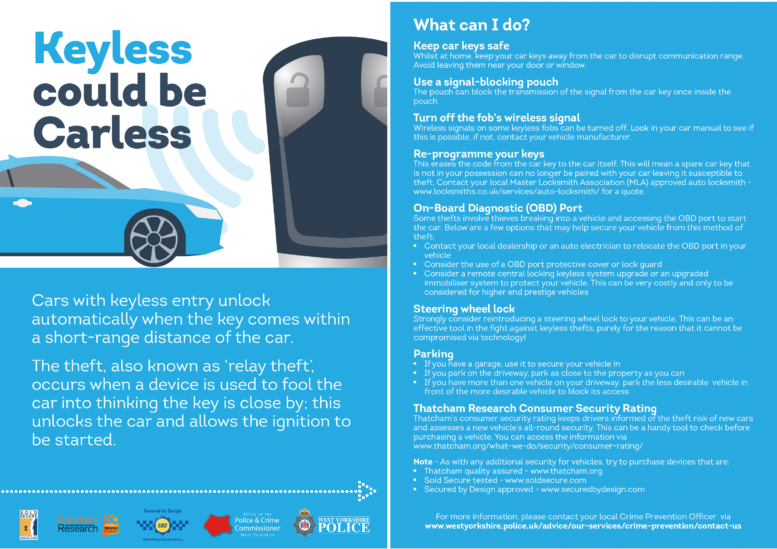 Poster advice for keeping keyless cars safe